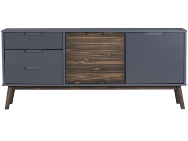 Kommode NUSSA 2 Türen 3 Schubladen grau