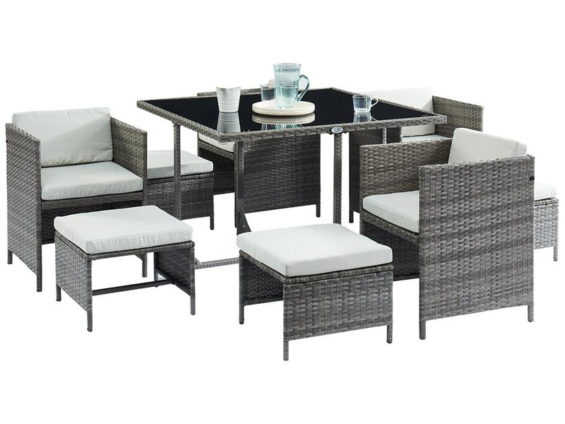 Set Gartentisch und Gartenstühle CARIO schwarz