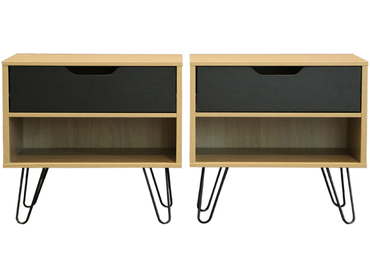 2 Nachttische-Set TWIN 1 Schublade Spanplatte schwarz