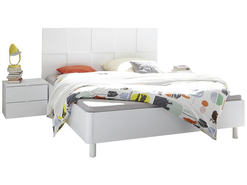 Bett mit 2 Nachttischen FIRENZE 160x200cm Lackiert weiss