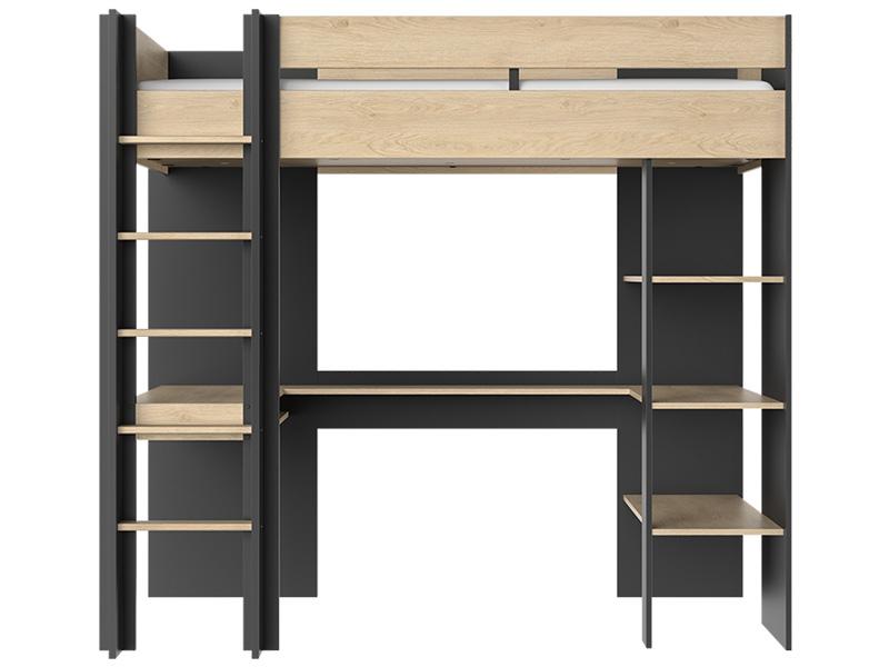 Lit mezzanine DUPLEX 90x200cm noir