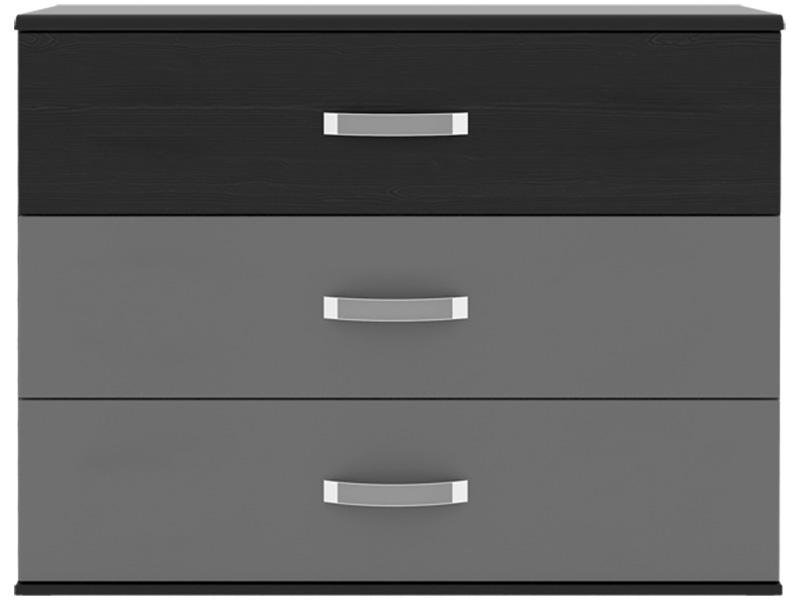 Commode DOLCE BLACK 3 tiroirs chêne