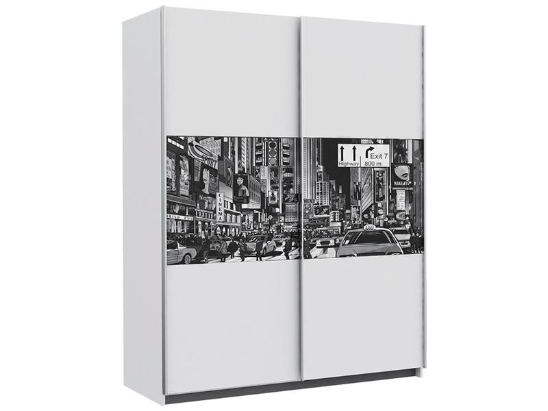 Armoire NEW YORK 2 portes coulissantes blanc