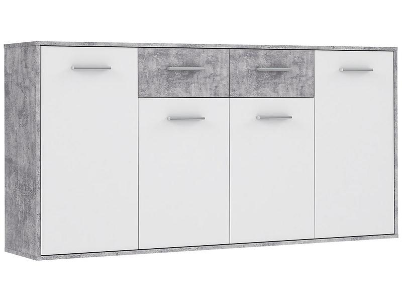 Commode ANTUZA 4 portes 2 tiroirs blanc
