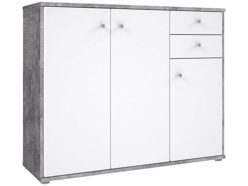 Commode TEMPRA 3 portes 2 tiroirs blanc