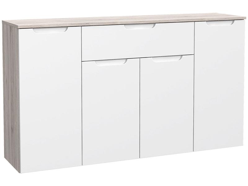 Commode MORENO 4 portes 1 tiroir blanc