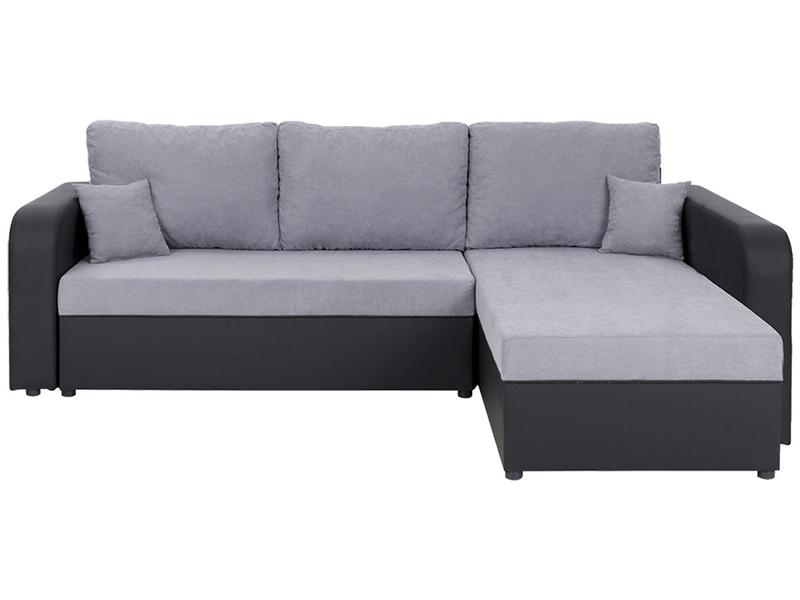 Canapé d'angle KAROL tissu gris