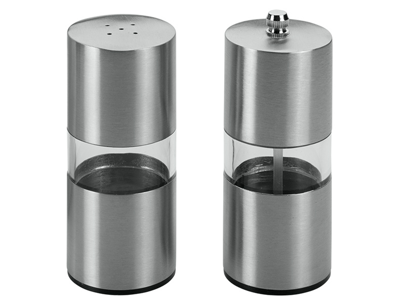 Set moulin+salière inox gris