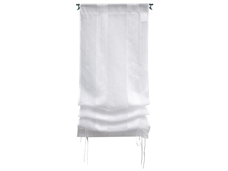 Voilage RAYURE 60x120cm polyester blanc