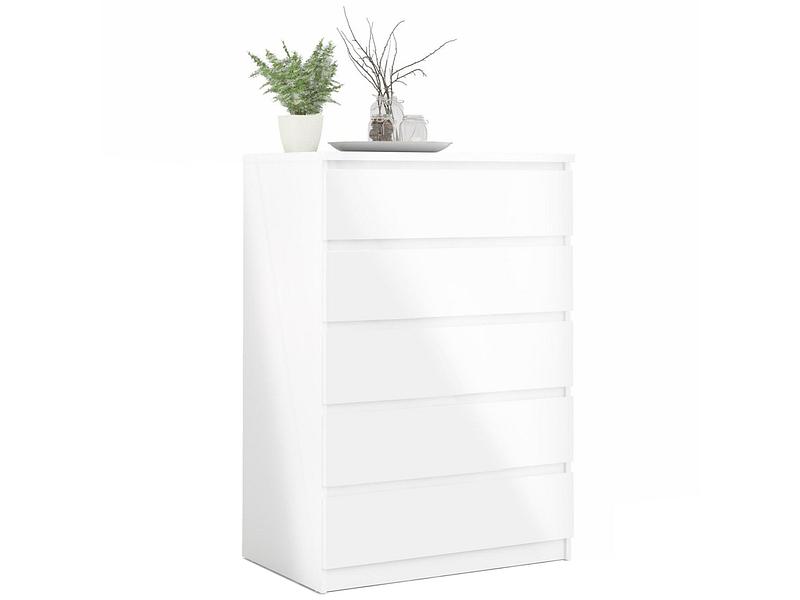 Commode VICKY 5 tiroirs blanc