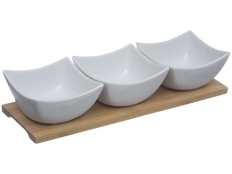 Set d'aperitivo LURA porcellana bianco,marrone