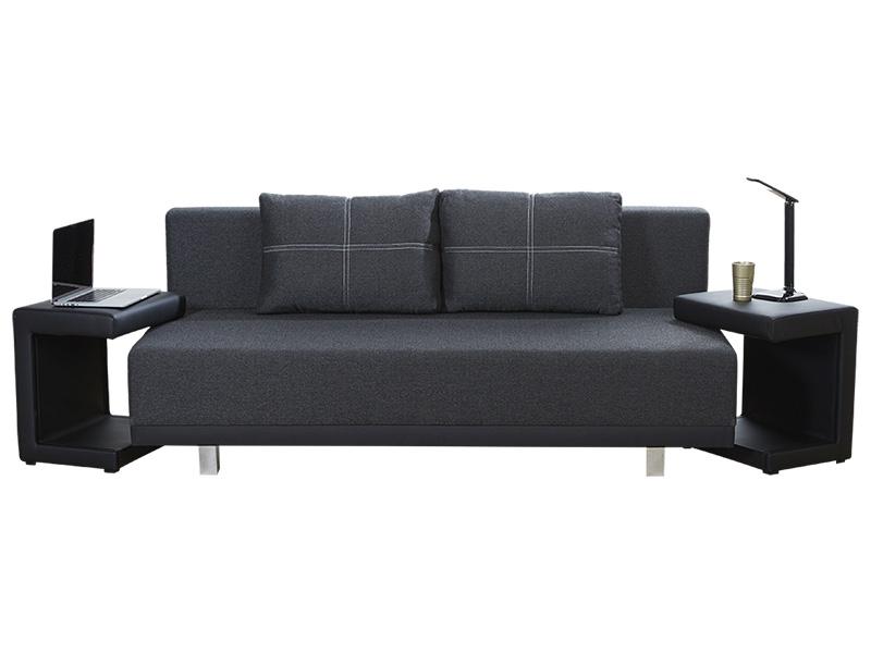 Bettsofa GREGOR stoff schwarz 88x210x77cm