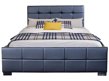 Bett MONZA BLACK 140x200cm Lederlook schwarz